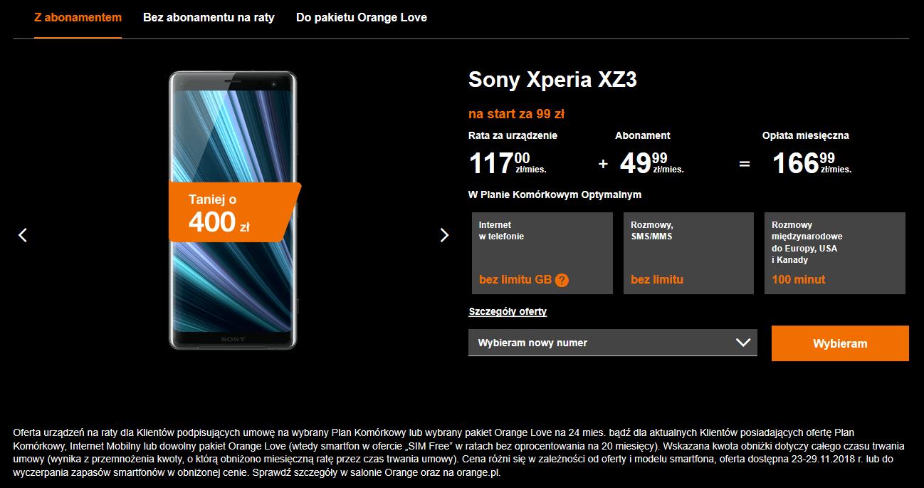 xperia xz3 promo orange