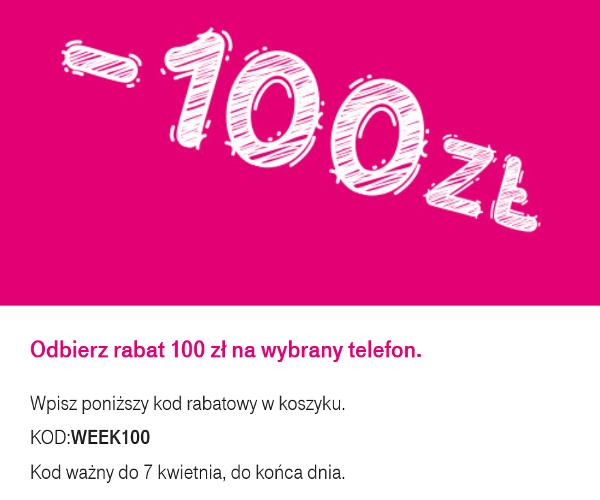 18351f0e2485b2 Obniżka ceny za pomocą kodu rabatowego: WEEK100 obowiązuje tylko przy  zamówieniach złożonych przez klienta prywatnego na www.t-mobile.pl do godz.