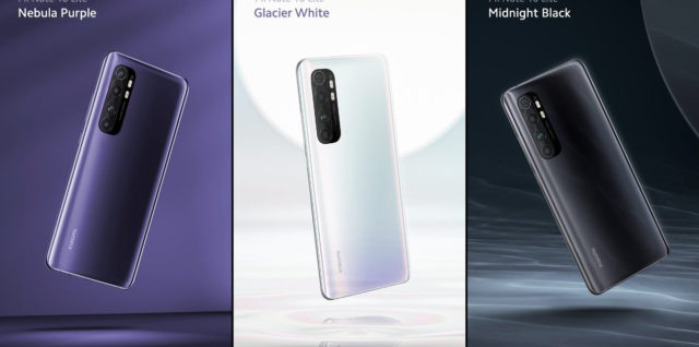 purple white black to kolory obudowy modelu mi note 10 lite marki xiaomi