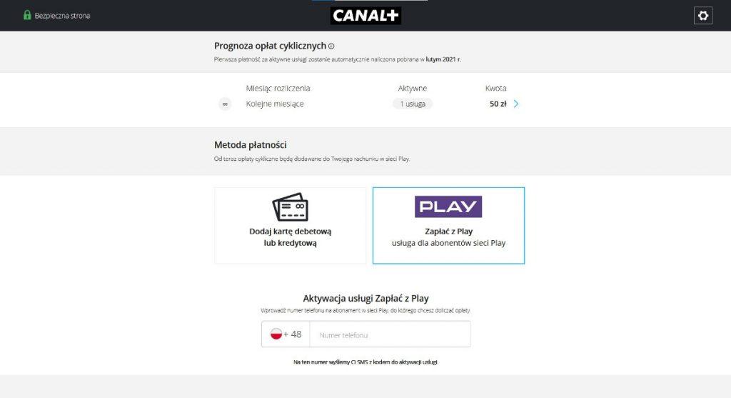 zapłać z play płatności za subskrupcję canal+ online do rachunku za telefon
